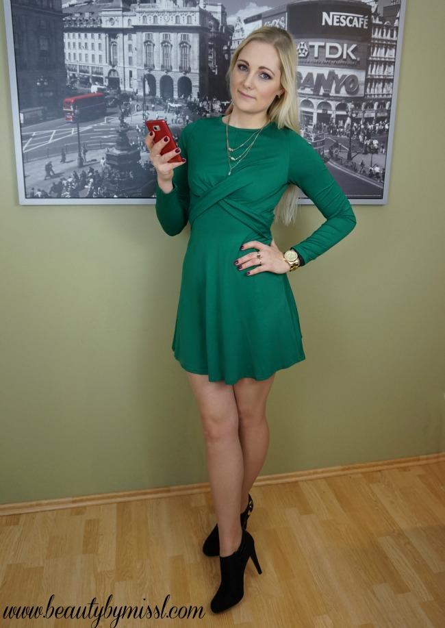 green dress and black heels