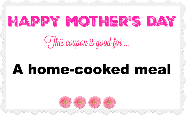 Handmade Mother's Day coupons for household chores