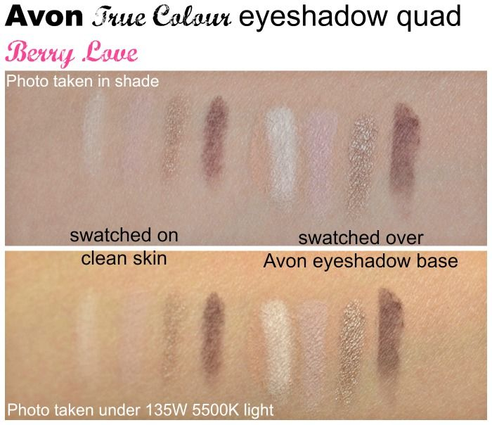 Avon True Colour eyeshadow quad Berry Love swatches