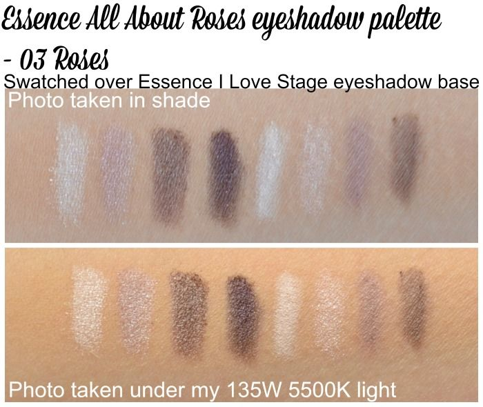Essence All About Roses eyeshadow palette 03 Roses swatches over primer