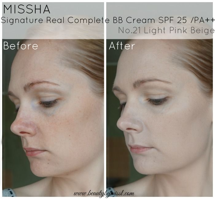 Missha Signature Real Complete BB Cream in Light Pink Beige before and after