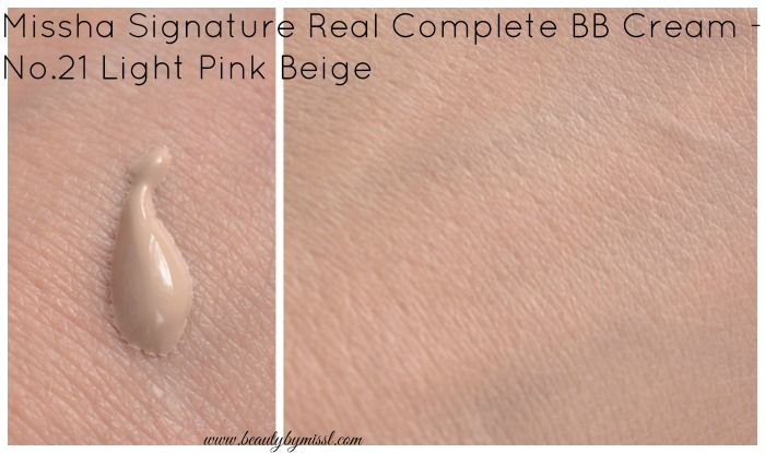 Missha Signature Real Complete BB Cream in Light Pink Beige swatch
