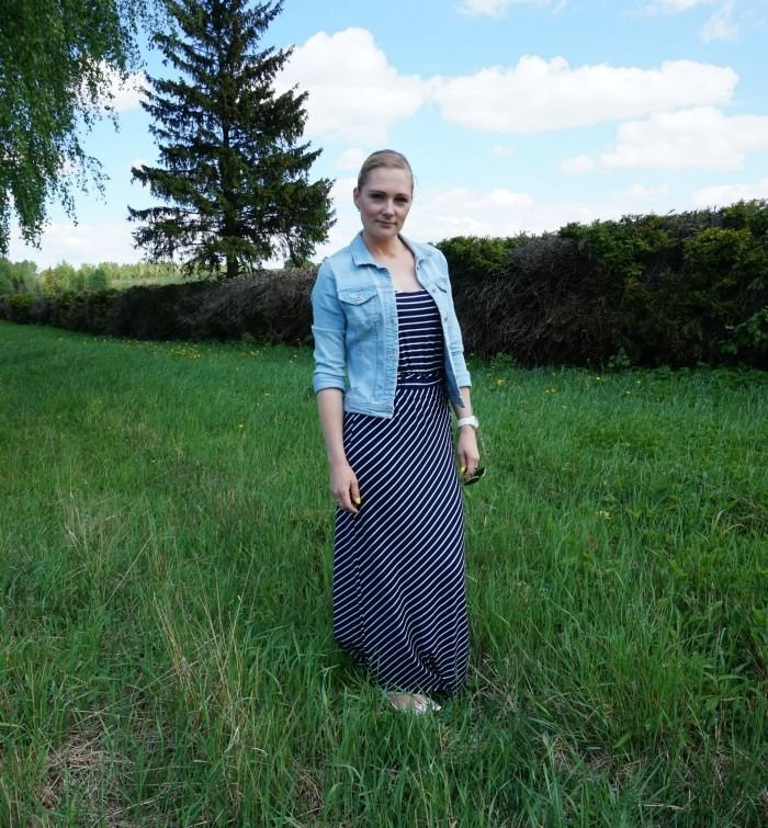 Striped maxi dress and denim jacket