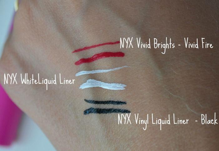 NYX Vivid Brights Vivid Fire eyeliner NYX White Liquid Liner NYX Vinyl Liquid Liner Black swatches