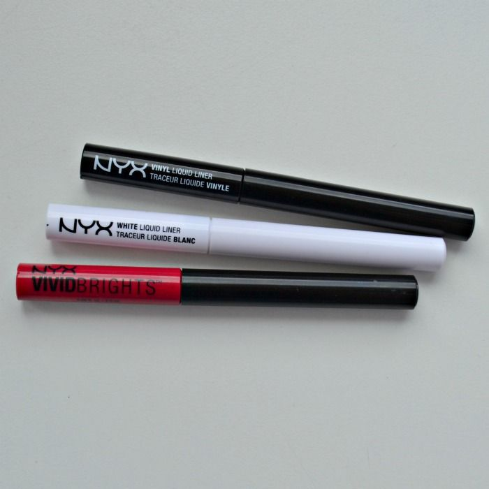 NYX Vivid Brights Vivid Fire eyeliner NYX White Liquid Liner NYX Vinyl Liquid Liner Black