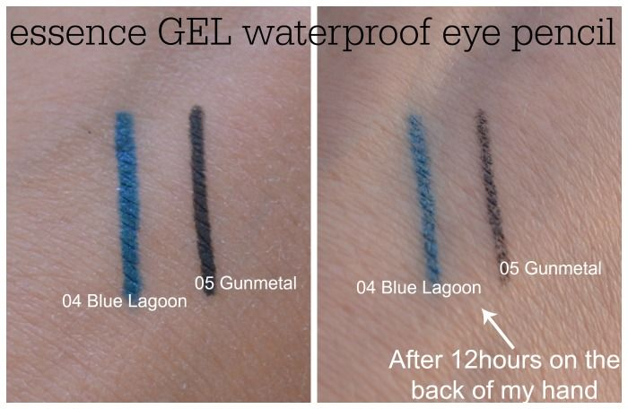 essence gel eye pencil waterproof 05 gunmetal 06 blue lagoon swatches