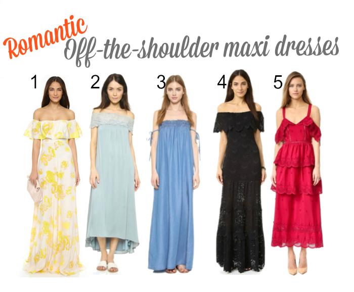 romantic off-the-shoulder maxi dresses