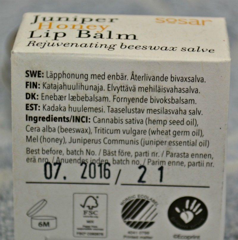 Sõsar Juniper Honey Lip Balm ingredients