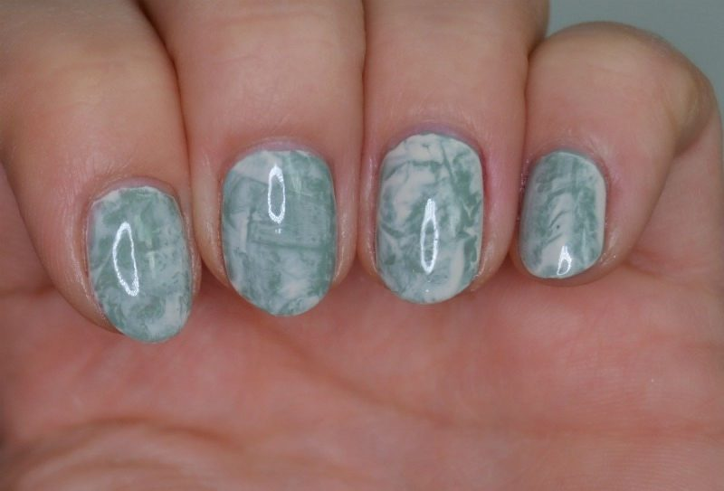 Cling wrap nail art with Essence The Gel nail polishes