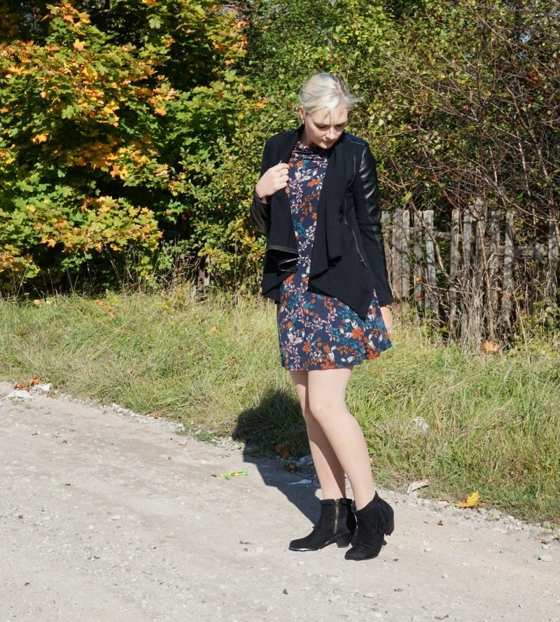 vegan leather jacket fringe booties multicolour floral dress