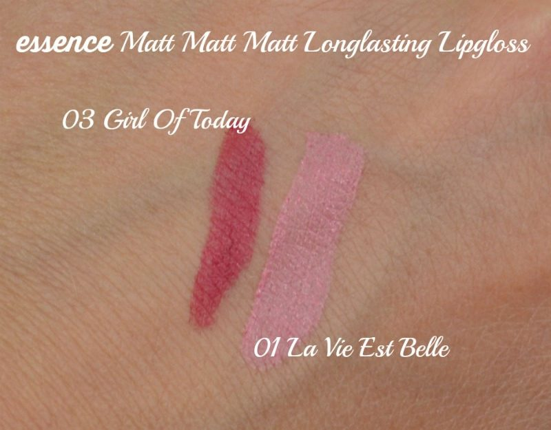 Essence Matt Matt Matt Longlasting Lipgloss 01 La Vie Est Belle & 03 Girl Of Today swatches