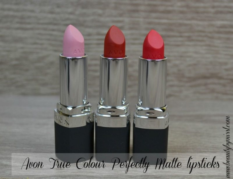 Avon True Colour Perfectly Matte lipsticks in Posh Petal, Red Supreme and Ruby Kiss swatches & review