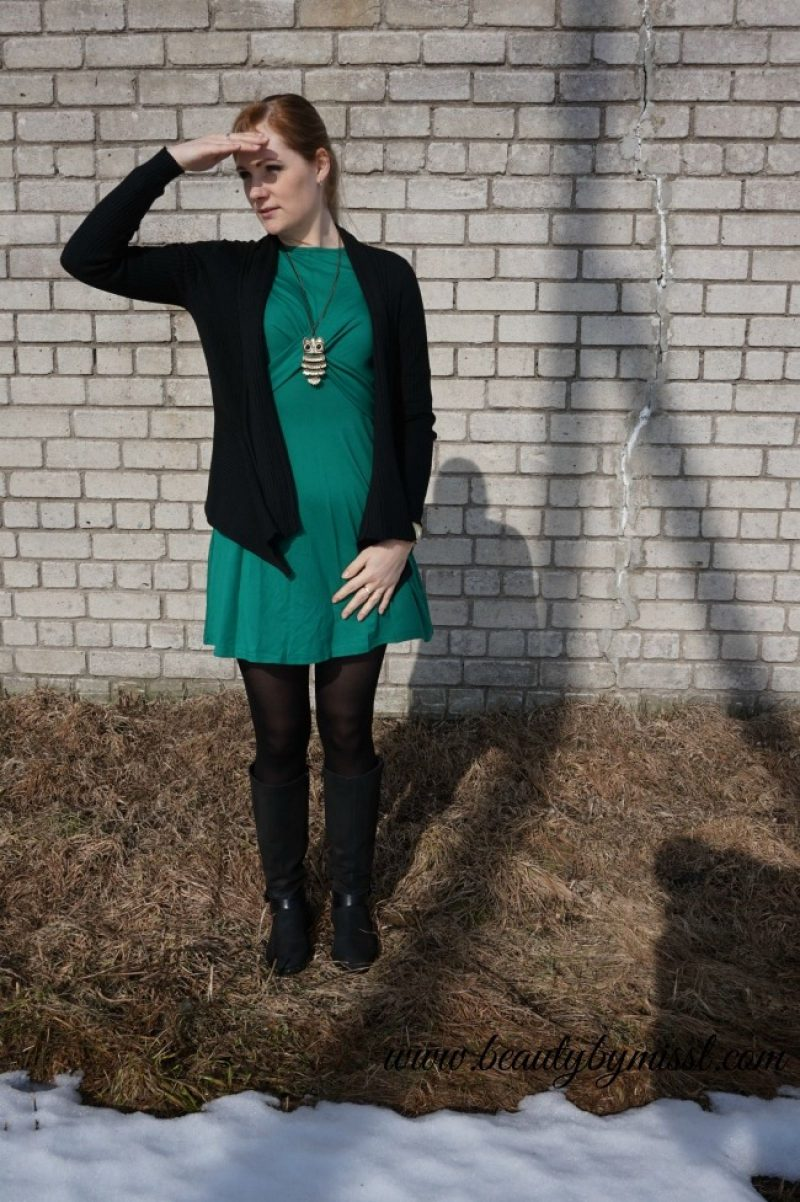 green dress from SheIn Esprit cardigan black boots Ecco owl necklace golden Michael Kors watch