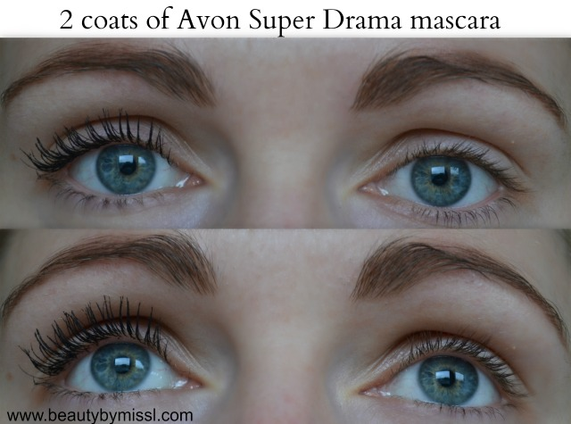 2 coats of Avon Super Drama mascara on my lashes