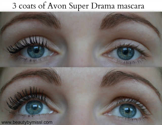 3 coats of Avon Super Drama mascara on my lashes