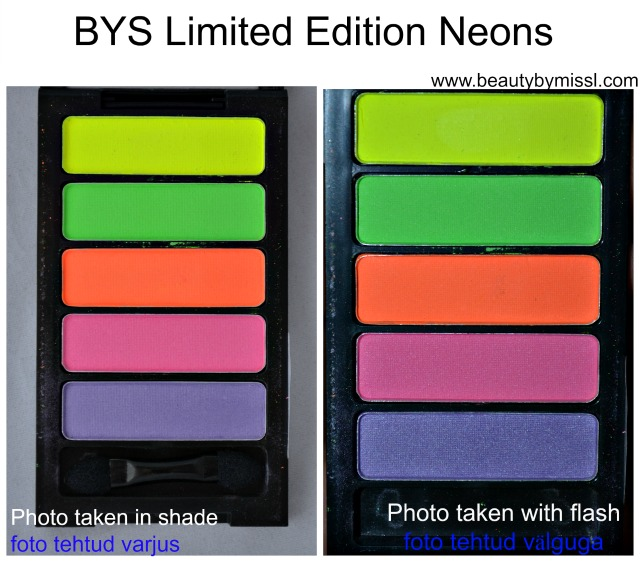 BYS Limited Edition Neons eyeshadow swatches