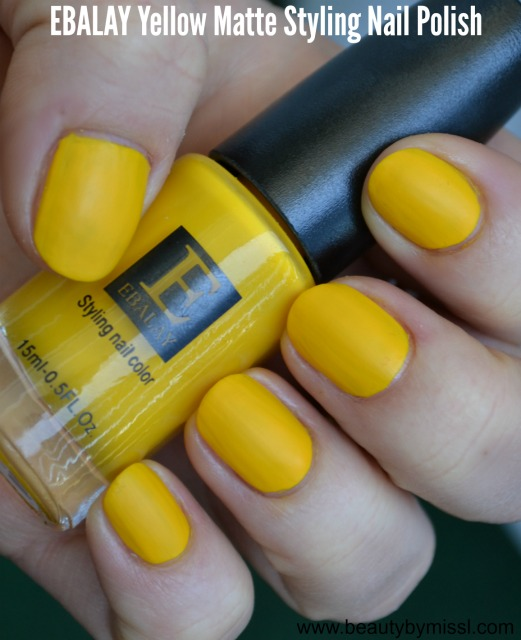 Ebalay Yellow Matte Styling nail color swatch