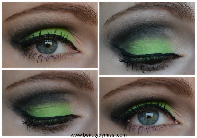 Green and black smoky eye