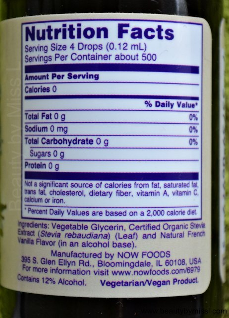 Now Foods Better Stevia Liquid Sweetener French Vanilla ingredients