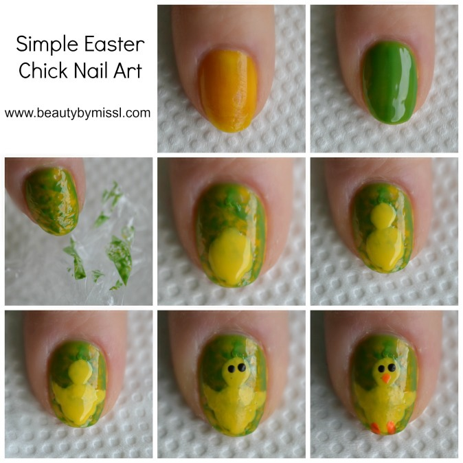 Simple Easter Chick Nail Art tutorial