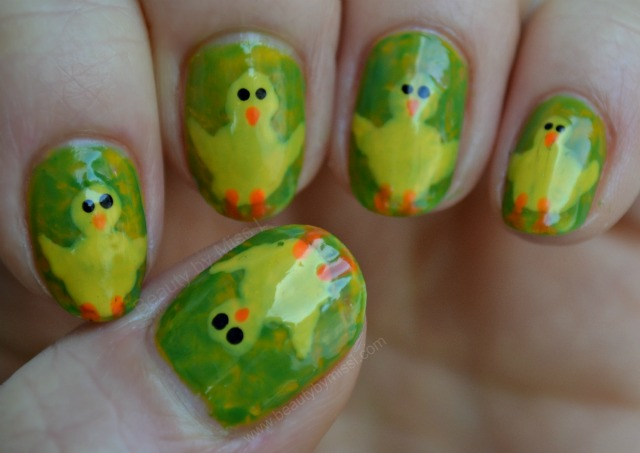 Simple Easter Chick Nail Art