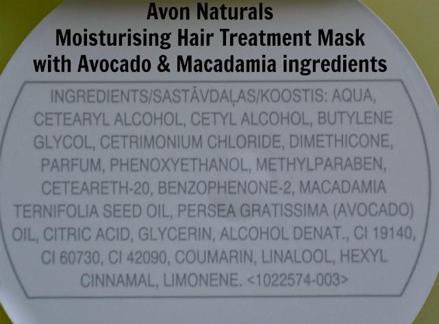 Avon Naturals Moisturising Hair Treatment Mask Avocado & Macadamia ingredients