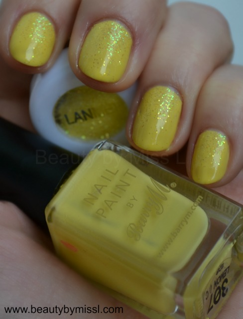 yellow Barry M nail polish Lemon Ice Cream and loose glitter