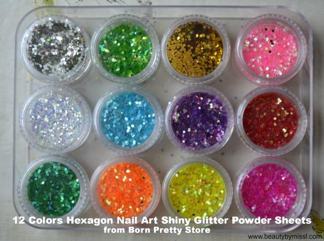 12 Colors Hexagon Nail Art Shiny Glitter Powder Sheets from Born Pretty Store