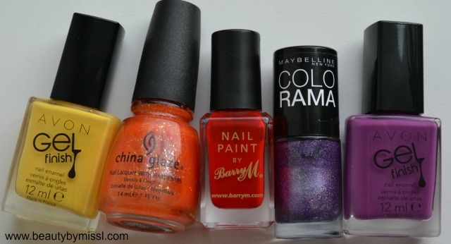 nail polishes used for Summer time nail art challenge manicure