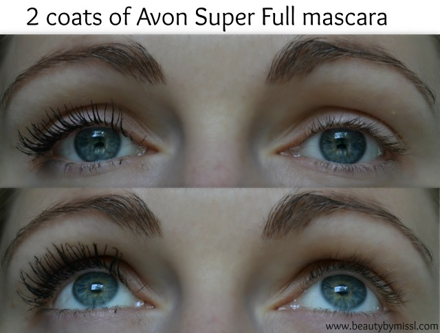 2 coats of Avon Super Full mascara on my lashes