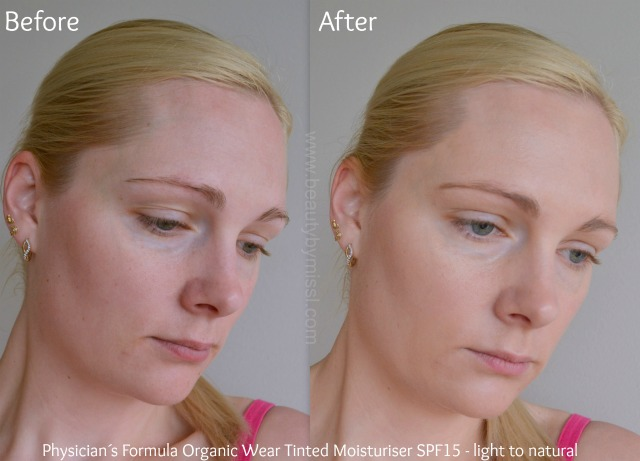 Physician´s Formula Organic Wear Tinted Moisturizer SPF15 before and after
