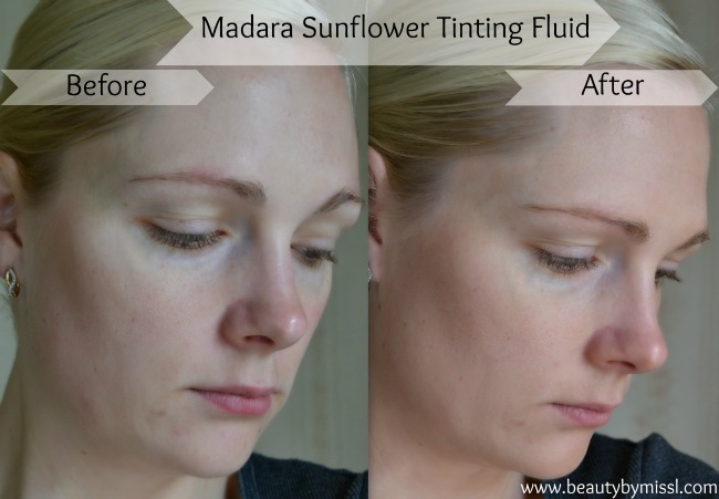 Madara Sunflower Tinting Fluid before and after