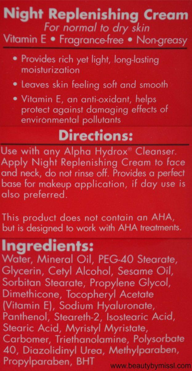 Neoteric Cosmetics Inc Alpha Hydrox Night Replenishing Cream ingredients