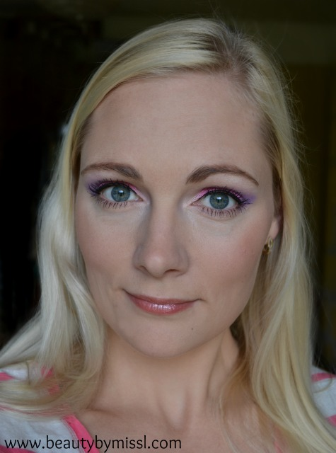 purple and pink makeup with bys limited edition neons palette