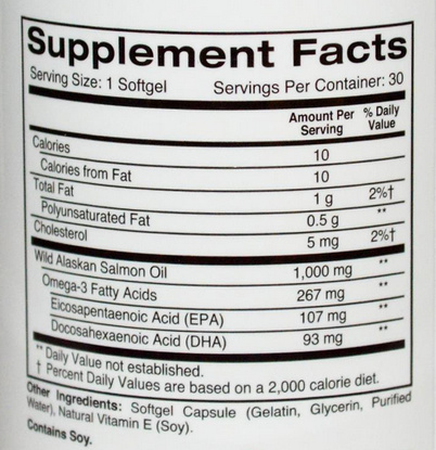 ZOI Research Wild Alaskan Salmon Oil supplement facts