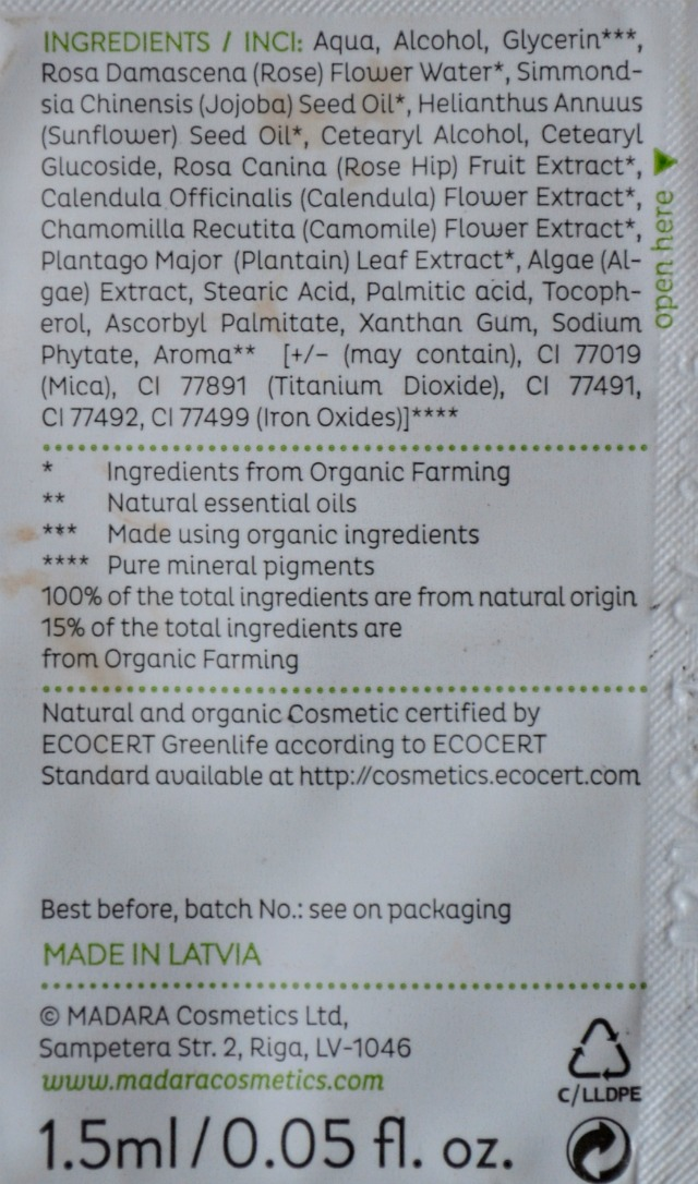 Madara Sunflower Tinting Fluid ingredients