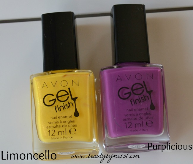 purple and yellow avon gel finish nail polishes