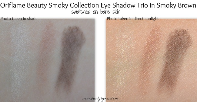 Oriflame Beauty Smoky Collection Eye Shadow Trio in Smoky Brown swatches