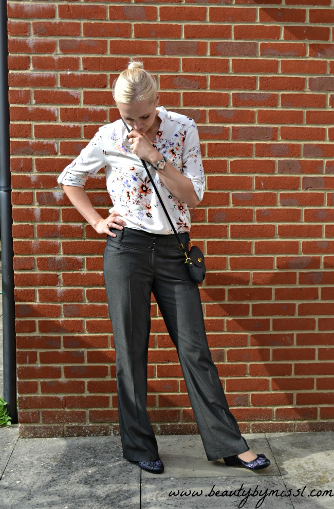Dressy pants and floral blouse