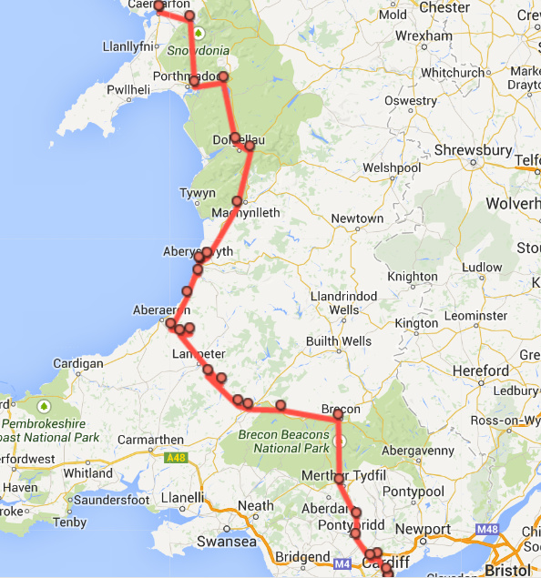 Cardiff to Aberystwyth and from there to Snowdonia