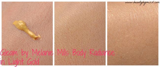 Gleam by Melanie Mills Body Radiance in Light Gold swatches
