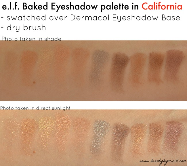 e.l.f. Baked Eyeshadow palette in California swatches