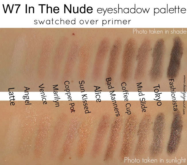 W7 In The Nude eyeshadow palette swatches