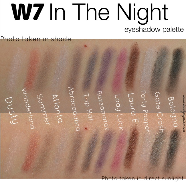 W7 In The Night swatches