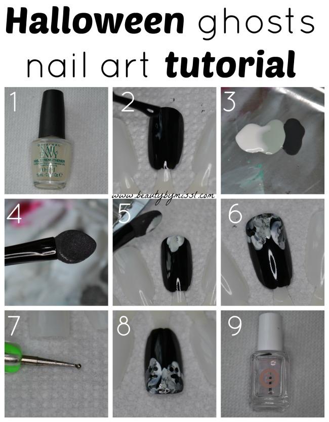 Halloween ghosts nail art tutorial