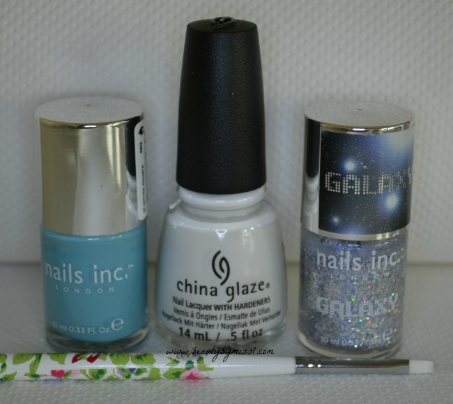 nail polishes used for snowflake nail art