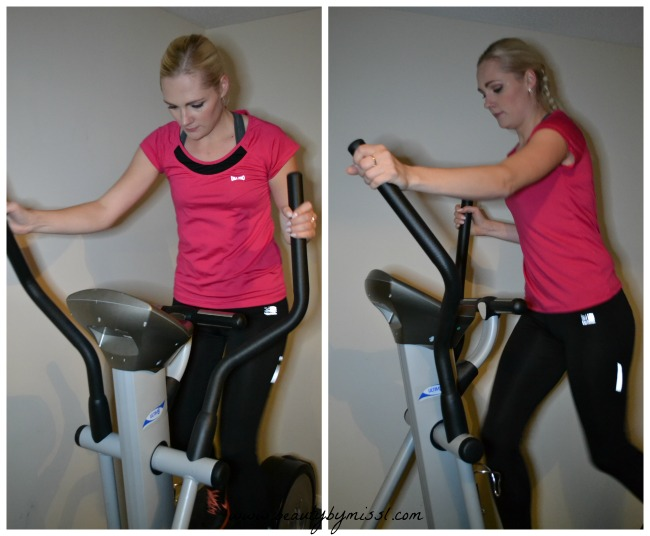 working out on cross trainer from Hire Fitness
