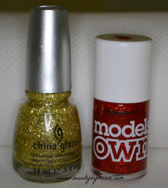 red golden glitter nail polishes