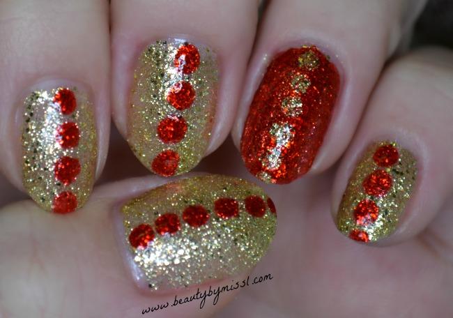 red golden glitter nails
