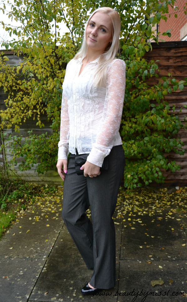 ootd grey pants and lace blouse